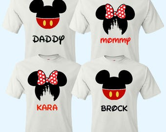 SALE- Family Mickey Minnie Shirts, Matching Disney Vacation Shirts, Disney Shirts, Disney Vacation Trip, Mickey Head Shirts, Castle Shirt