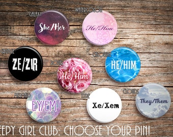 Choose Your Own Pronoun Pins: She/Her He/Him They/Them Xe/Xem Ey/Em Ze/Zir Non-binary. You Decide Your Gender Identity. Trans Rights. LGBTQ