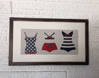 Vintage Swimwear Art, Beach, Nautical, Coastal Wall Hanging, Pinup, Fashion Art, Framed Swimsuit