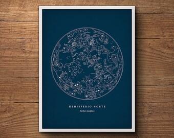 Framed star map print, Northern hemisphere star chart, Constellation print, Star map, Celestial wall art, Astronomy poster, Nautical decor