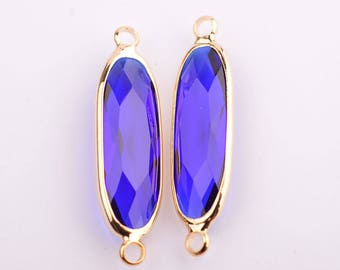 2pcs Framed glass connector, 27MM*7MM, 14k gold/rose gold plated brass,glass pendant/charm