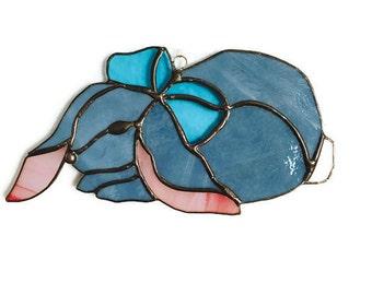 Floppy eared bunny stained glass suncatcher