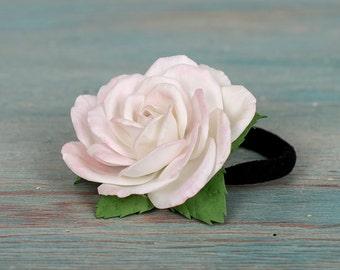 rose hair bobble, rose bobble, hair elastic, cream rose, pony tail white
