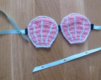 Sleeping mask, Mermaid seashells, handmade by fairy M1 Creations crochet
