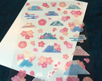 sakura and fuji stickers from japan