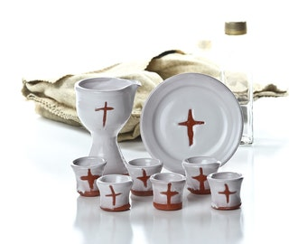 Portable Ceramic Communion Set- Natural Clay Cross