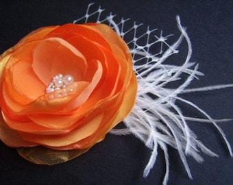 Orange Hair Clip Ivory Veil Feathers Pearls Gems Orange Headpiece Orange Wedding  Hair Flower Orange Bridal Clip Orange Bridal Accessories