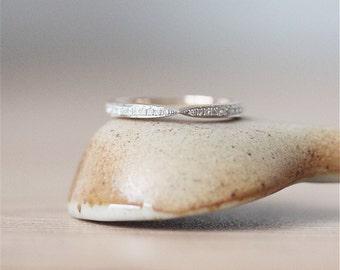 14K White Gold Ring*Vintage Bridal Wedding Band* Diamond Wedding &Engagement Band*Anniversary Ring*Solid Gold Diamond Matching Band