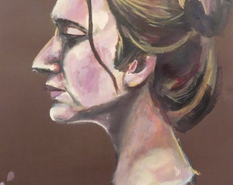 Painting of a woman, side profile, brown background, brown hair, life model, affordable art, gift idea, decor, wall hanging, original art