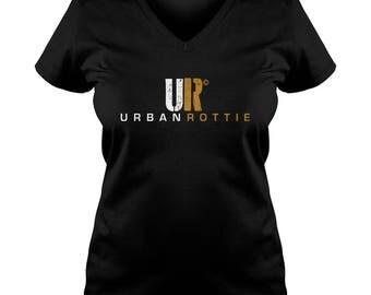 URBAN ROTTIE© Ladies V-Neck T-shirt,rottweiler t-shirt,rottweiler tees,rottie tees,rottweiler shirts,rottweiler fans,rottie tees,rotties