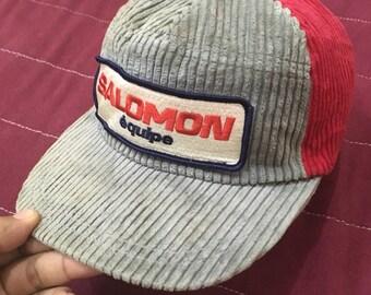Vintage 90s salomon trucker hat cap velvet free adult size