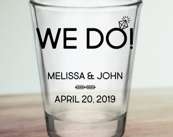 """Custom """"We Do!"""" Wedding Favor Shot Glasses"""