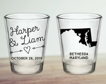 Custom Maryland Wedding Favor Shot Glasses
