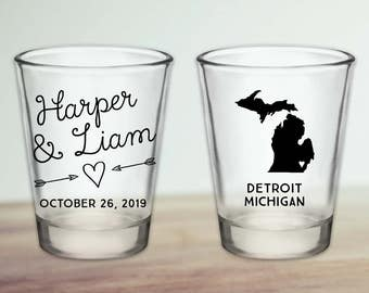Custom Michigan Wedding Favor Shot Glasses