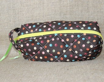 Quilted Zipper Pouch - brown polka dot (cosmetic bag, toiletry bag, carryall)