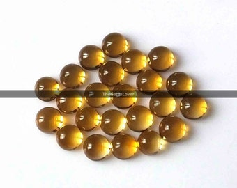 10 pieces 5mm Citrine cabochon round gemstone AAA+ quality Natural Citrine round cabochon loose gemstone yellow color citrine gemstone cabs