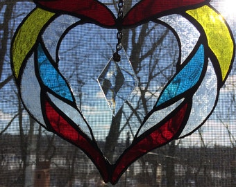 Suncatcher, Stained Glass, Heart
