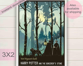 Harry Potter & Sorcerer's Stone book movie digital poster | Printable wall art home decor | Forbidden forest film print | Instant download