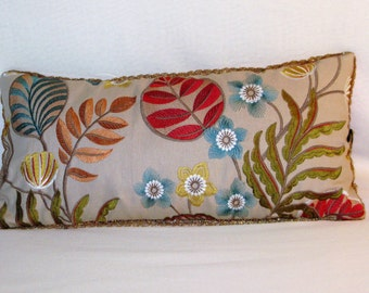 "Embroidered Pillow floral linen and red silk velvet, 60 x 30 ""Abeba"""