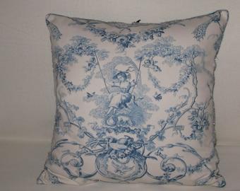 """Cushion """"Berenice the Shepherdess"""" Toile de Jouy blue and white, blue silk velvet, 50 x 50"""