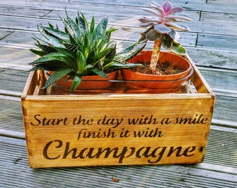 Vintage 'Start the day with a smile' Champagne Wooden Handcrafted Rustic Storage Box