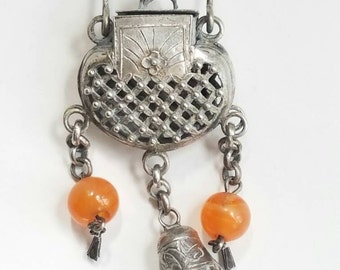 Antique Asian Chinese Silver Pendant