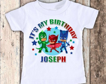 PJ Masks cute custom designed birthday t shirt tshirt personalized