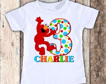 Elmo custom designed birthday t shirt tshirt personalized