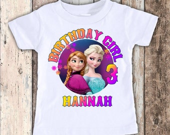 Frozen Rainbow custom designed birthday t shirt tshirt personalized