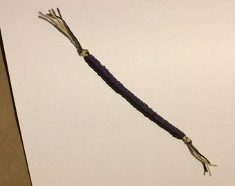 Purple & Black Hemp Zipper Bracelet/Anklet