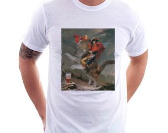 Napoleon's Charge With Beer Tee, Beer Tee, Beer T-Shirt, Beer Lovers Tee, Beer Thinkers, Beer Art, Art Lovers, Altered Art, Napoleon Charge