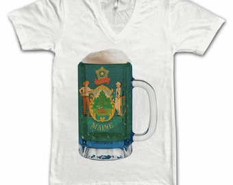 Ladies Maine State Flag Beer Mug Tee, Home State Tee, State Pride, State Flag, Beer Tee, Beer T-Shirt, Beer Thinkers, Beer Lovers Tee