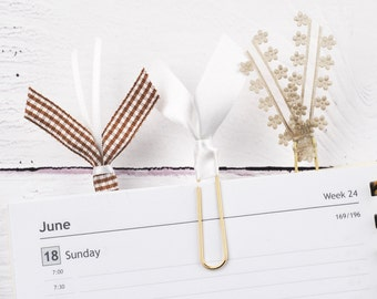Diary Accessories, Planner Clips, Planner Accessories, Gold Planner Clips, Brown and White, Ribbon Bookmarks, Office, Set of 3 Clips