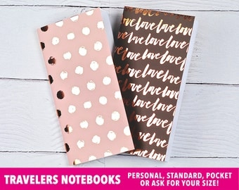Travelers Notebook, Rose Gold Foil, Travelers Notebook Insert, Websters Pages, Filofax, Moleskine, Midori, Pink and Brown, Foil, Set of 2