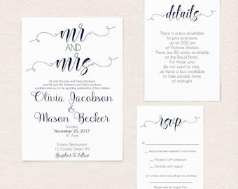 Navy Wedding Printable, Wedding Invite, Navy Wedding Invitation, Wedding Invitation Template, Winter Wedding, Instant Download 11