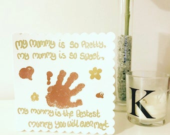 Childrens Handprint Card / Fathers Day / Mothers Day / Mum / Dad / Mummy / Daddy / Grandparents / Personalised / Bespoke / Birthday