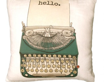 Vintage Typewriter Decorative Linen Pillow