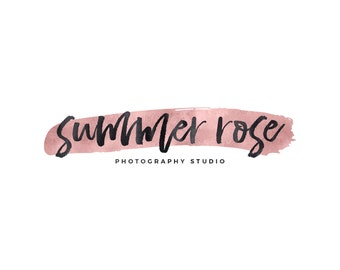 Rose Gold Brush Stroke Logo / Rose Gold Logo / Paint Stroke Logo / Makeup Artist Logo / Designer Logo / Boutique Logo Creation / Blog Logo