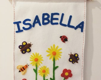 Personalised name wall hanging -large - spring meadow