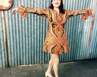 Iconic 70's Paisley Mini Dress