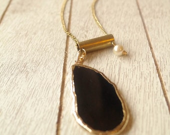 Rugged Elegance | Brass Bullet Casing with Gold Electroplated Black Agate Gemstone | Minimalist Jewelry | Gemstone Jewelry | Mother's Day