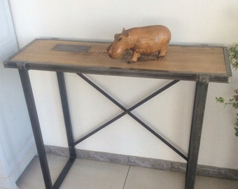 Steel and industrial acacia console