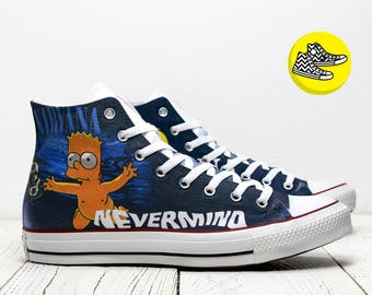 Nirvana Nevermind custom converse shoes with Bart Simpson