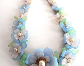 German, Vintage, Blue Poured Glass, Pate De Verre, Flower, Choker Necklace