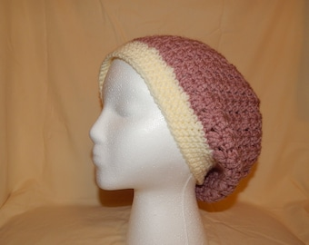 Cream and Dusty Rose Crocheted V-Stich Slouchy Beanie