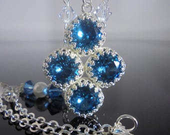 Blue Green Swarovski Crystal Pendant, Blue Green Formal Pendant,Blue Green Crystal Pendant, Blue Green Formal Necklace,Silver Pendant Formal