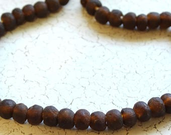 African Recycled Glass Beads from Ghana, Clear Root Beer Brown - ARG-005