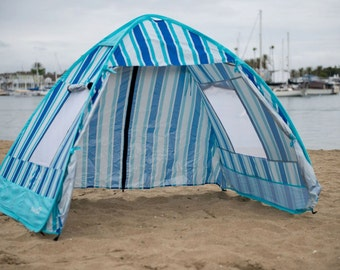 Custom Made Classic Beach Tent with Matching Beach Towels (custom design and colors). Sun Shade, Beach Cabana