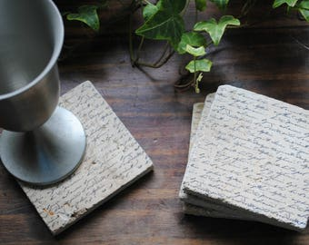 Script Writing Stone Coasters from The Leaning Barn Design