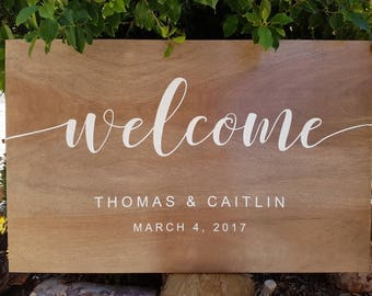 Personalized Timber Welcome Sign, wedding / engagement / birthday, handpainted